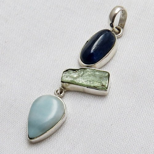 Green Island !! Kyanite & Prehnite & Larimar 925 Sterling Silver Pendant, Wholesale Silver Jewelry, Silver Jewelry Exporter
