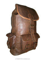 20 inch Large Leather Backpack Rucksack Travel Bag