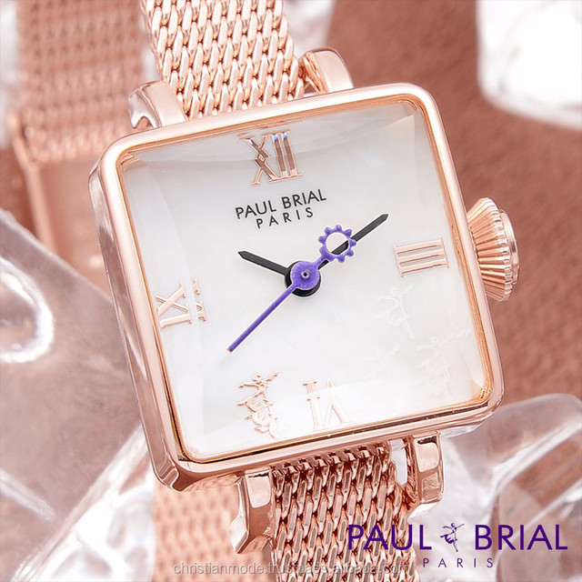 Lady Casual Bracelet Fashion Square Watches Women Brass Case Stainless Strap Water Resistant Rose Gold Paul Brial Korea Made