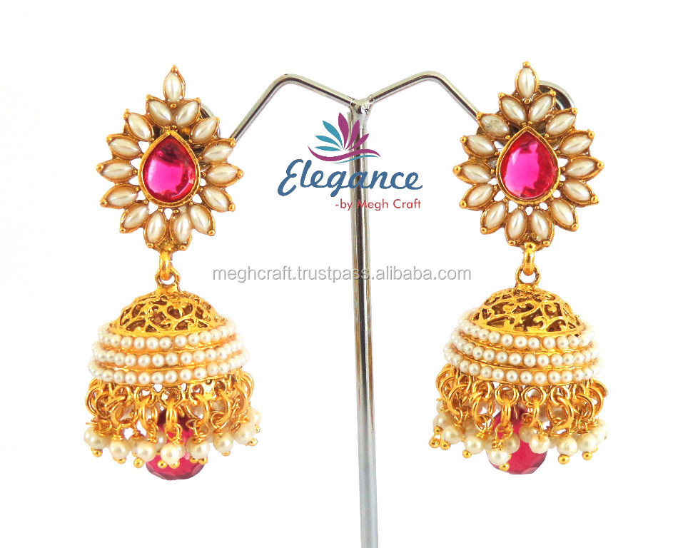 Antique pearl jumka earrings - indian traditional earrings - one gram gold jewellery -imitation earrings jewelry