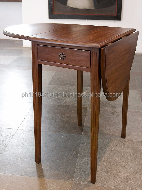 Country style wooden drop leaf table