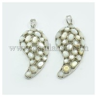 White Shell Big Pendants, with Brass Pendant Findings, Magatama, Platinum Metal Color, White, 69x28x10mm, Hole: 4x8mm