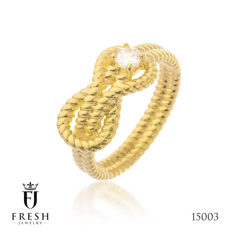 15003 Infinity Gold Jewellery Fashion Gold Plated Ring - Gold Jewellery Manufacturer, CZ Cubic Zircon AAA