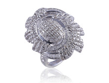 COCKTAIL RING IN 2.18 CTS NATURAL CERTIFIED DIAMONDS & SOLID BIS HALLMARK 14KT WHITE GOLD - WHOLESALE PRICE - FAST SHIPPING