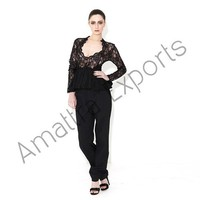 Black Lace Top With Fitted Pant Women's Designer Dress
