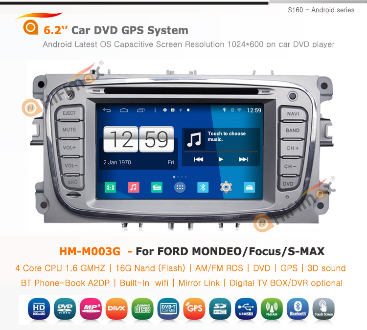 HIFIMAX Android 4.4.4 car dvd player navigation for ford mondeo car radio cd player for ford focus/S-MAX