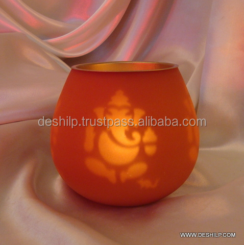 Ganesh Frosted Candle holder Glass Hurricane