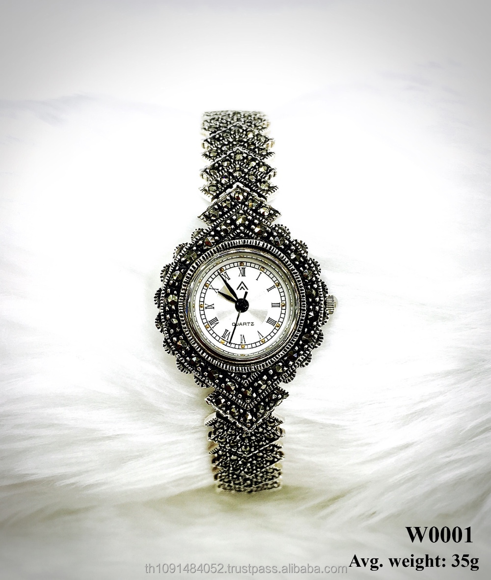 Classic Watch for men and women made from 925 sterling silver and Swiss marcasite stone jewelry timepiece