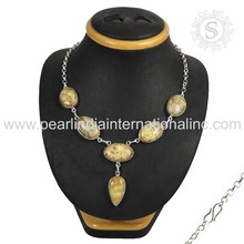 Excellent Picture Jasper Natural Gemstone Silver Jewelry Necklace 925 Silver Jewellery Exporter India