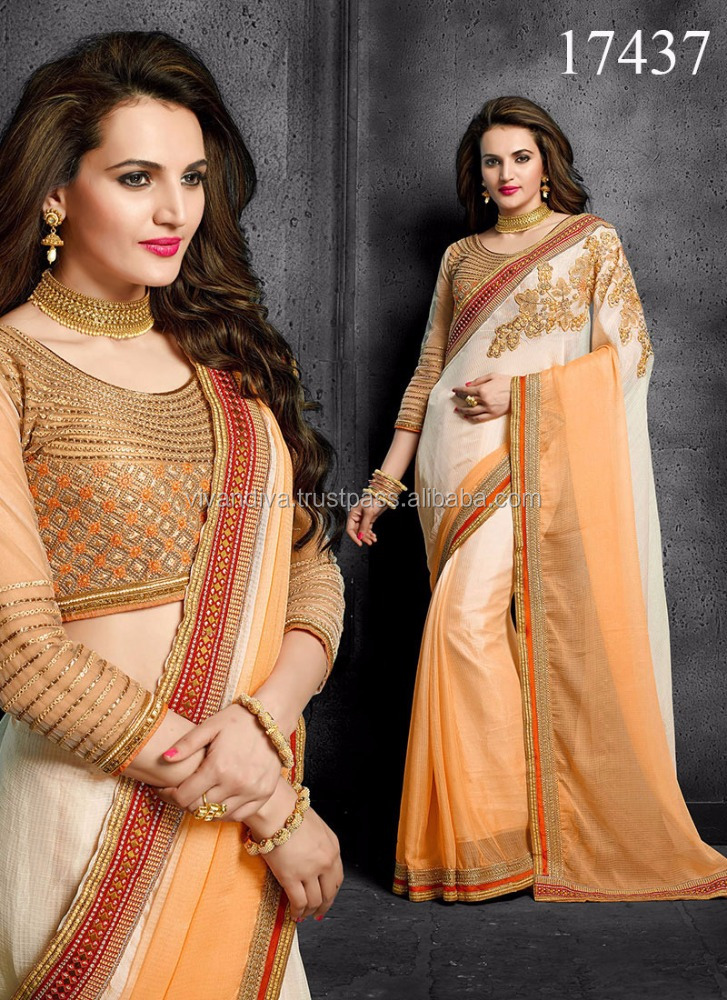 Chiffon Designer Sarees With Heavy Blouse