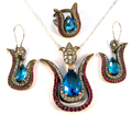 925 sterling silver set kosem sultan roxelana harem hurrem ruby emerald color hatice sultan tulip turkish tv film series ottoma