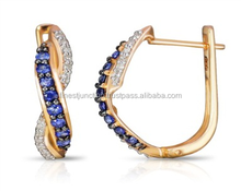Sapphire and Diamonds 14K Golg Earring Gold Jewelry Party Gold Blue Stone Jewelry Earring Luxury Women Gift