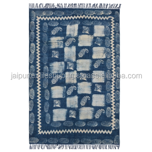 Nay blue beautiful made in india rajasthani dhurries for living room 4*6 ft Carpet cotton Rug