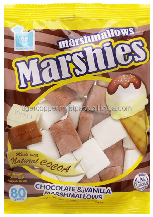 MARSHIES CHOCOLATE & VANILLA MARSHMALLOWS BAG 80G