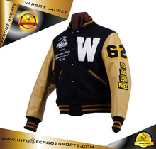 Custom American Baseball Letterman Varsity Jacket Woolen Body Leather Sleeves