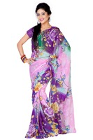 Variation Purple And Pink Pure Georgette Saree