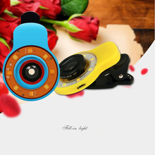 Brand New 9 in1 Clip-on Phone Selfie Speedlite 8 LED Flash Light Lamp Wide Angle Fish Eyes Lens Fill light For Cellphone