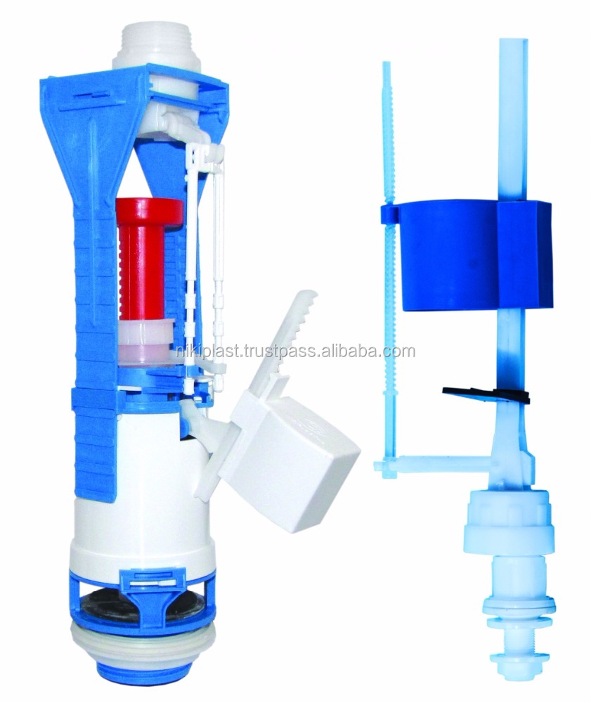 Toilet tank fitting with bottom inlet valve/plastic oriffice/