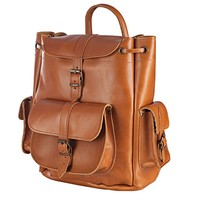 Genuine Leather Backpack Handmade LARGE Size in Tobacco Color