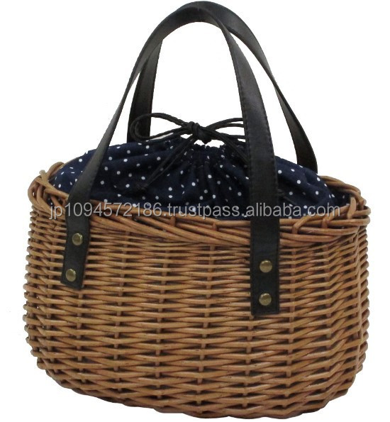 Well-selling fashionable wicker basket hand bag designed in Japan