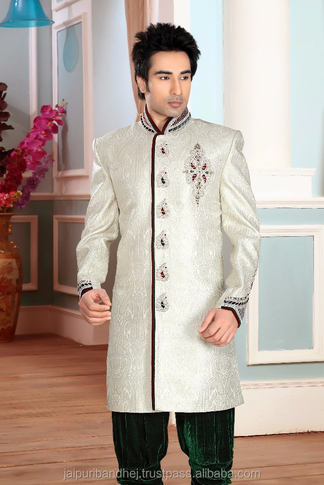 Off White color Butta Work Gold Zardosi Self Stones Velvet Patch work Sherwani