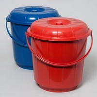 BUCKET W/MATCHING PLASTIC HANDLE AND LID 6.6 GAL 6 COLORS 14 X 5 #41059