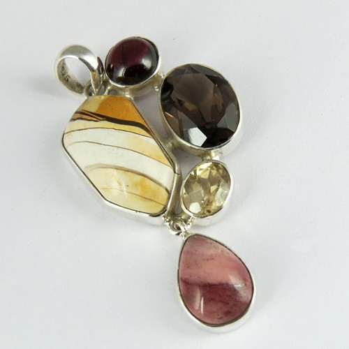 Admirable Fancy Multi Color 925 Sterling Silver Gemstone Pendant, Discounted Silver Jewellery, Gift Silver Jewellery