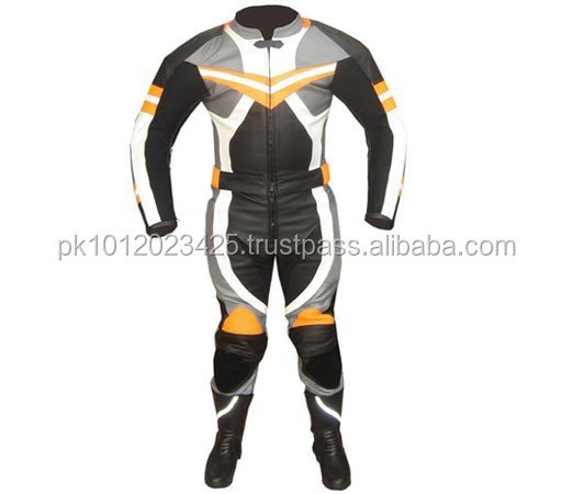 Motorbike Leather Suit (WS-527) Black / White / Gray / Yellow