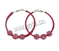Basketball Wives Hoop Earrings Resin Rhinestone with Wax Cord handmade 62x69mm 30Pairs/Lot Sold By Lot