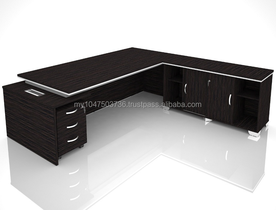 320-2100-Malaysia Director Table Set Main Table, Side Cabinet & Mobile Pedestal 3D
