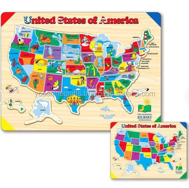 USA map jigsaw puzzle, wooden Jigsaw puzzles