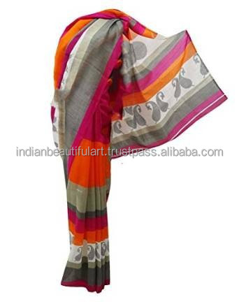 Multicolor Art Silk Latest Fashion Sari Paisley Traditional Indian Costume Women Clothing