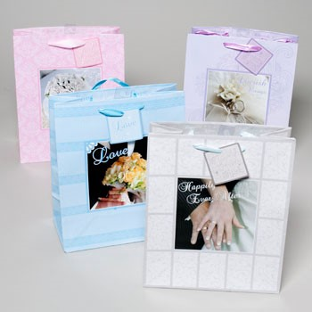 GIFT BAG WEDDING LARGE W/PHOTO INSET & SATIN HANDLE 4ASST #G80012