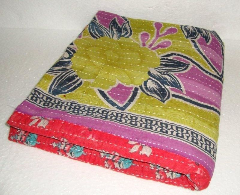 Vintage Kantha Quilt 100% Cotton Reversible Kantha Quilt Kantha Throw Blanket Indian Manufacturer And Wholesaler