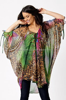 2015 New Style Beach Kaftan Top / Digital Animal Print / Free Size / Poly Georgette