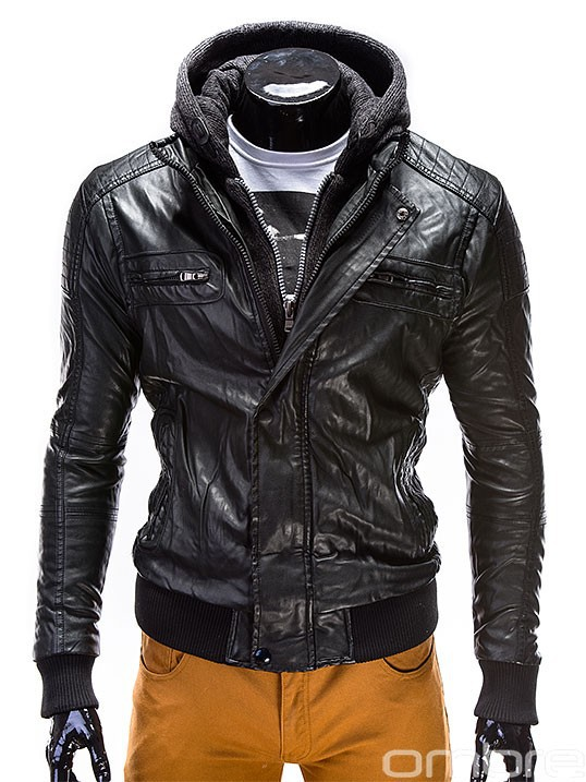 OMBRE Fashionable Black Artificial Leather Jacket Coat Overcoat with zippers hood men clothes italian style
