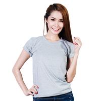 OEM/ Plain Blank GREY 100% Cotton No.32 O-Neck T-Shirt (Made in Thailand)
