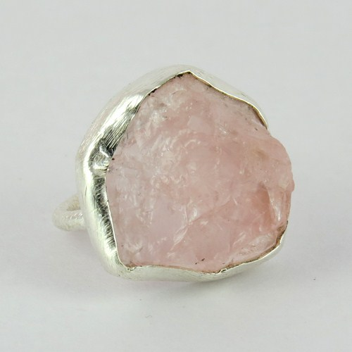 Precious !! Pink Rose Quartz 925 Sterling Silver Ring Size-6.0 US, 925 Silver Rough Stone Ring For Beautiful Man And Women