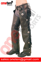 Black buffalo leather chaps with braid trim and fringe. Unisex design features hand woven trim, 6'' leg fringe, front buckle