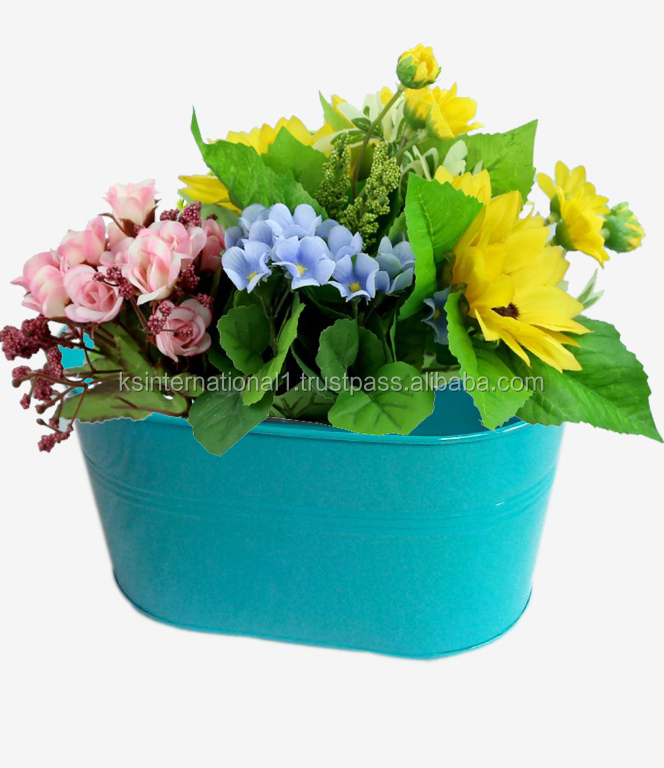 Aqua Powder coated Oval Metal Garden Planter