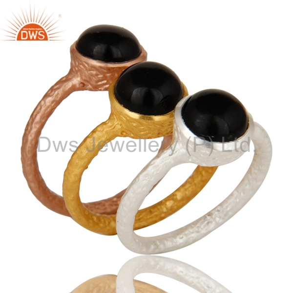 Handmade Brass Fashion Rings Set Natural Black Onyx Gemstone Ring Set Manufacturers of Designer Jewelry