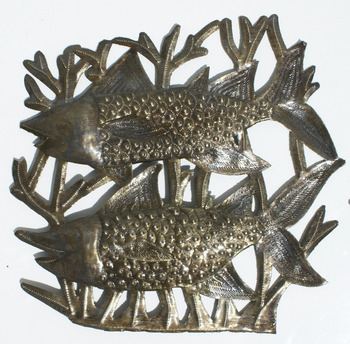 Two Fishes Decor Metal Fish Wall Art Sculptures Haitian Folk Art Decorative Metal Fish Wall Art, 38cm