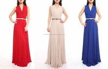 long maxi elegant evening dresses with belt made in Turkey