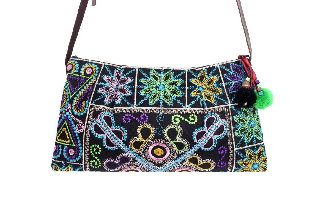 Beautiful Cross Body With A Multi Raw Lace Embroidered Pattern