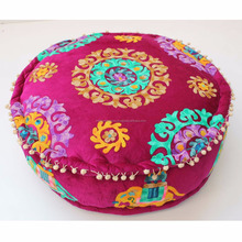 Wholesale cotton hand embroidery pouffe covers indoor sitting puffs modern pouf ottoman