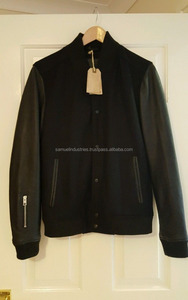 Fashion Professional Slim Fitted varsity Jacket For Men\All saints black leather bomber jacket