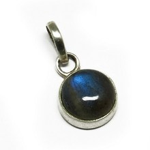 Solid Blue Fire Labradorite 925 Sterling Silver Bezel Round Pendant, Online Silver Jewelry, 925 Sterling Silver Jewellery