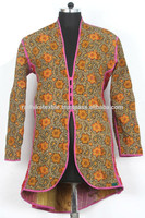 RTHCJ-21 Red reversible cotton kantha Winter Jackets For Girls Abstract Floral pattern vintage Fabric