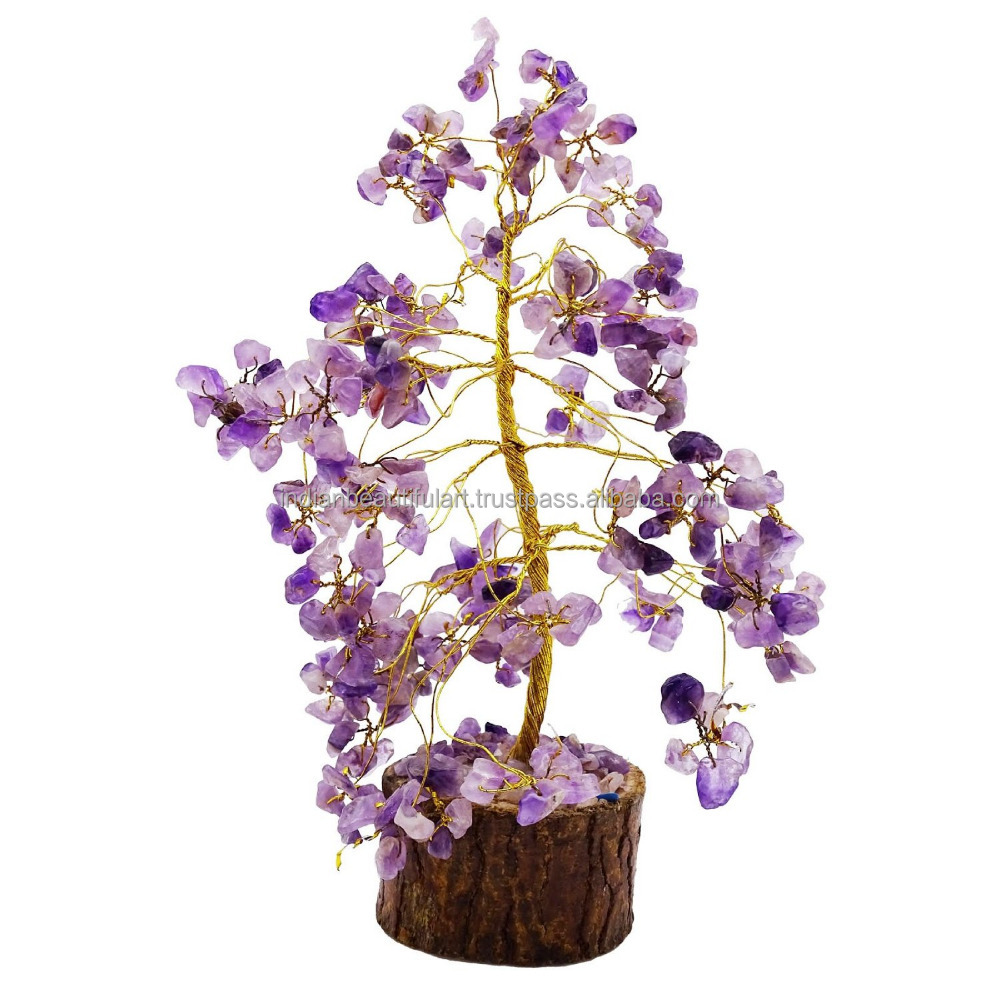 Amethyst Tree Reiki Gemstones Spiritual Feng Shui Vastu Bonsai Table Decor CD1854A