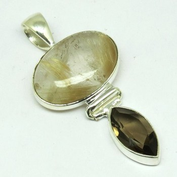 Unique 925 sterling silver golden routile smoky quartz pendant unique 925 sterling silver golden routile smoky quartz pendantgemstone jewelry bezel setting aloadofball Images